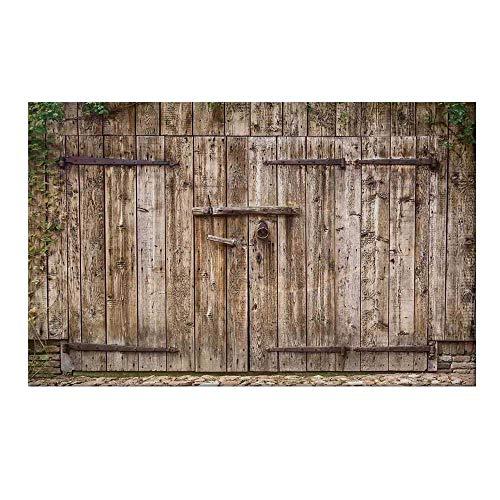 - YOLIYANA Rustic Durable Door Mat,Old Oak Closed Garage Door with Steel Hinges Vintage Typical Cottage Doorway Image for Home Office,19.6