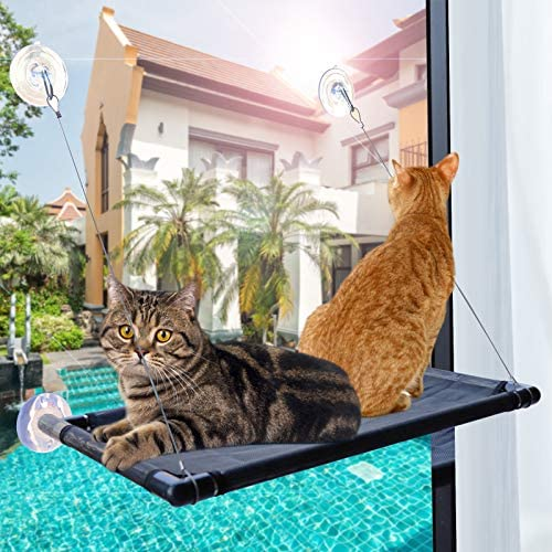 PetIsay Premium Metal Cat Window Hammock Perch Cat Bed Kitty Sunny Seat Durable Pet Perch with Upgraded Version 4 Big Suction Cups Cat Bed Holds Up to 60lbs and Removable Cover is Machine Washable.