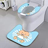 Philiphome Universal Toilet seat Baptism Design Happy Boy Christening Striped Dotted Background Christian Religion Theme Cushion Non-Slip