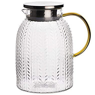 Warm Crystal, The Glass Water Pitcher with Lid and Handle, Glass Tea Pitcher, Carafe, Teapot and Jug for Coffee, Juice, Ice Water and Flower Tea Suitable for Your Fridge and Coffeemaker (60 oz)
