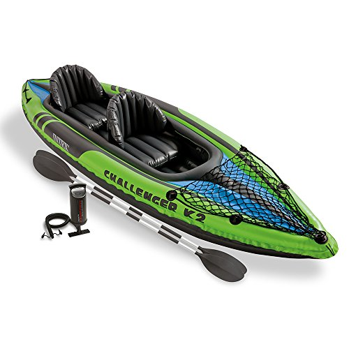 Intex Challenger K2 Kayak, 2-Person Inflatable Kayak Set with Aluminum Oars and High Output Air Pump (Raft Paddle)