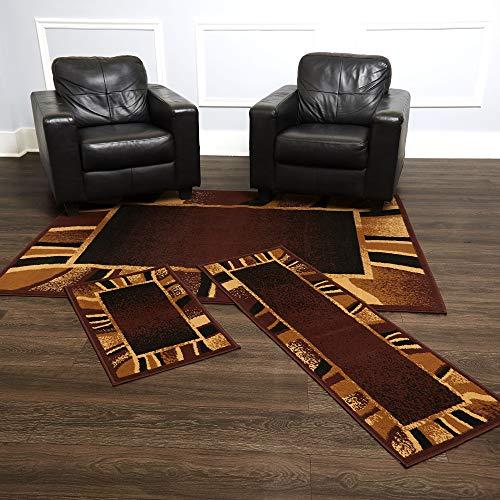 Home Dynamix Konya Contemporary Modern Area Rug 3 Piece Set Border Brown Beige Black (Piece Sets 3 Rug)