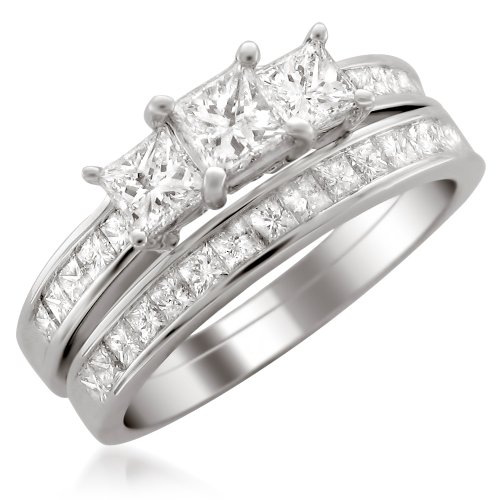 14k White Gold Princess-cut 3 Three-Stone Diamond Bridal Set Ring (2 cttw, H-I, I1-I2) by La4ve Diamonds (Image #1)
