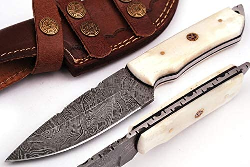 Grace Knives Handmade Damascus Steel Hunting Knife 8.5 Inches with Leather Sheath G-1051