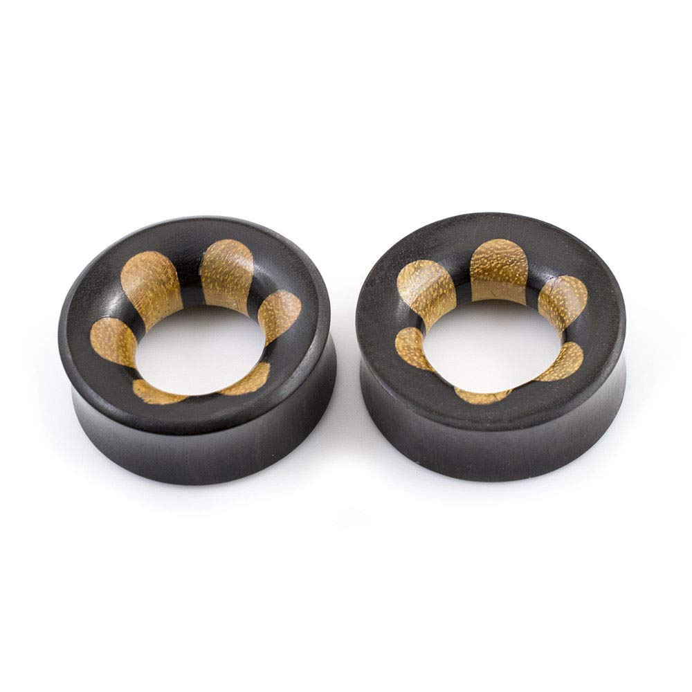 BodyJewelryOnline Pair of Ear Tunnels Made of Ebony Wood with Flower Design Double Flared