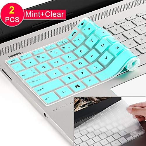 [2 Pcs] Silicone Keyboard Cover Skin for 2019 2018 HP 14 inch Laptop Keyboard Cover/HP Pavilion x360 Keyboard Cover 14M-BA 14M-CD 14-BF 14-BW 14-cm 14-CF Series 14 Inch Protective Skin,Mint+Clear ()