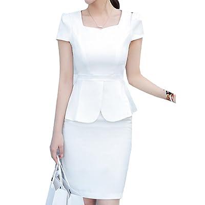 Abetteric Women's Elegant Solid Colored Peplum Blazer and High Waisted Skirt Set