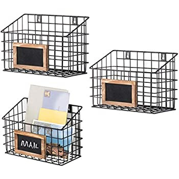MyGift Set of 3 Wall-Mounted Rustic Wire Storage Baskets w/Chalkboard Labels