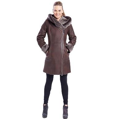 b96e0da744c4 Denny&Dora Womens Brown Sheepskin Shearling Leather Jacket Hooded Fur  Collar Diagonal Zipper Slim Coat at Amazon Women's Coats Shop