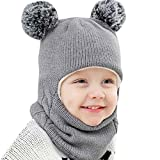aliveGOT Baby Girls Boys Warm Winter Hat Scarf Pom Ball Hood Scarves Skull Caps (Gray)