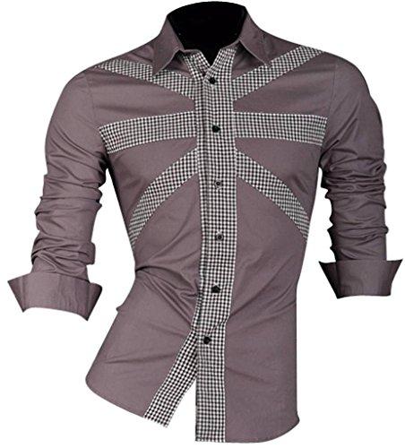 jeansian Herren Freizeit Hemden Shirt Tops Mode Langarmshirts Slim Fit 8312 (US XL, Z013_Gray)