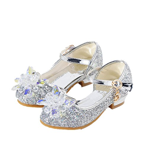 Chic Girl's Rhinestone Glass Slipper Heels Princess Crystal Shoes-(Silver-10 M US - Shoes Childrens Dyeable