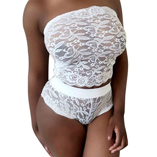 DATEWORK Women Sexy Lingerie Lace Babydoll Underwear (XL, White) (Leopard Babydoll And Thong)