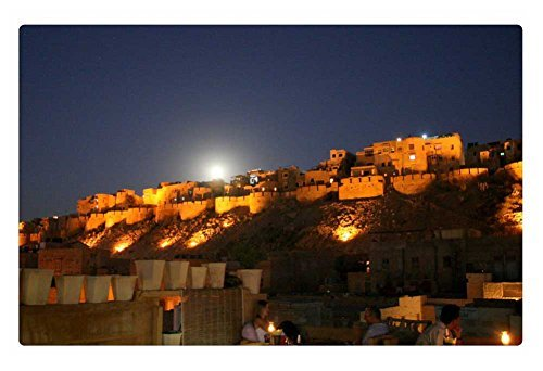 Tollyee Indoor Floor Rug/Mat - Full Moon Over The Fort - jaisalmer, India (23.6