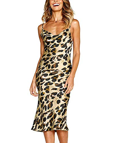 Moxeay Womens Cowl Neck Backless Spaghetti Strap Cocktail Bodycon Midi Dress (S, Leopard Print) ()