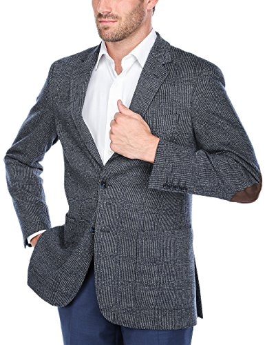 Wool 2 Button Single (Chama Men's Two Button Single Breasted Classic Fit Sport Coat Wool Blazer (Navy&Grey, 46L))