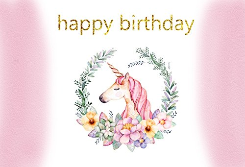 Laeacco Happy Birthday Unicorn Backdrops 7x5ft Party Decoration Background for Photography Watercolor Flowers Wreath Garland Border Striped Banner