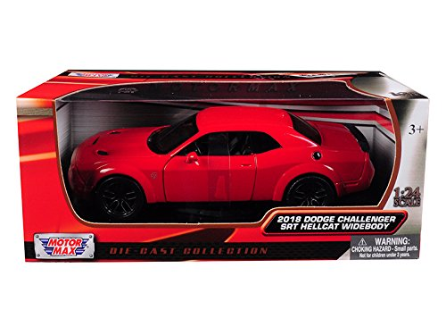 (2018 Dodge Challenger SRT Hellcat Widebody Red 1/24 Diecast Model Car by Motormax 79350)