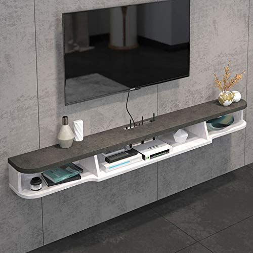 Floating Shelf 2 Tier Modern Wall Mounted TV Shelf TV Stand Floating TV Media Console Wall Cabniet Component TV Shelf Hanging Storage Cabniet for Xbox One/PS4/Cable Box/DVD Players/Game Console