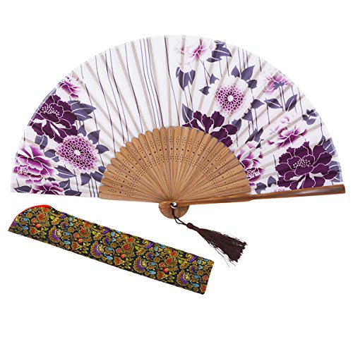 "Amajiji 8.27""(21cm) Hand Held Bamboo Silk Folding Fan Hand Fan,Chinese/Japanese Charming Elegant Vintage Retro Style,Women Ladys Girls Best Gifts (LXHS1)"