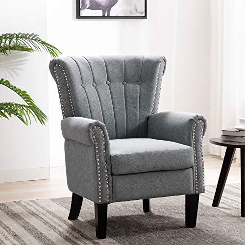Altrobene Fabric Accent Arm Chair, Modern Club Chair, Channel-Tufted, Nailhead Trim, Wooden Legs for Living Room Bedroom Office, Grey