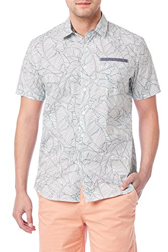 UNIONBAY Men's Classic Short Sleeve Poplin Button-up Woven Shirt, New White, Large by UNIONBAY