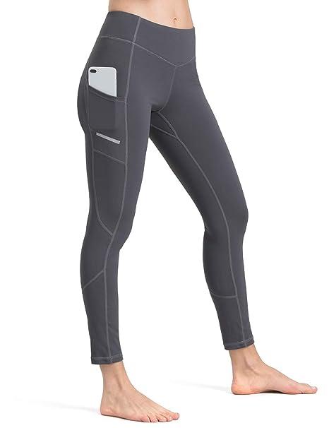 ALONG FIT Leggings Mujer, no transparenta Mallas Deportivas Mujer altas de cintura mallas mujer fitness con Bolsillos Para Yoga Gimnasio