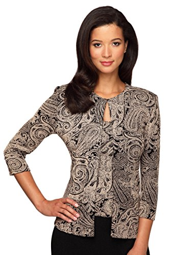 Alex Evenings Women's Twinset CAMI Jacket 3X Black/Stone