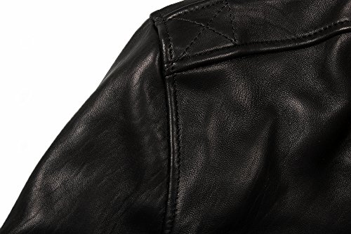 chaqueta bombardero Piel chaqueta piel Hombre de Negro chaqueta De Cordero abrigo Para Fly Avirex qSpEt6