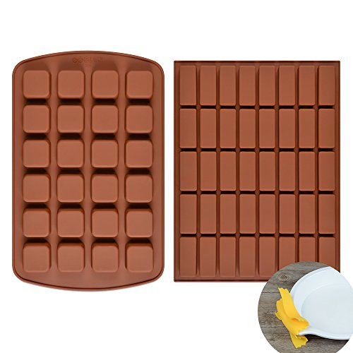 Silicone Brownie Baking Molds Pan - Small Cake Molds Square and Rectangular Silicone Molds Set of 2 by FUNBAKY (Image #2)