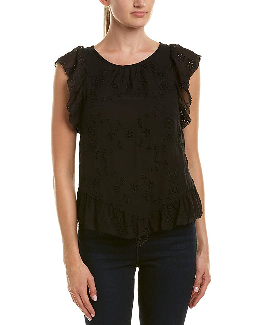 Large Joie Womens Candida Silk Lace Top Caviar