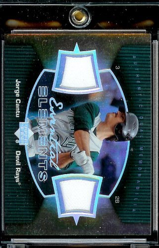 (2007 Upper Deck Elements Jorge Cantu Essential Dual Jerseys Tampa Bay Devil Rays Baseball Card - Mint Condition - Shipped In Protective Display Case!)