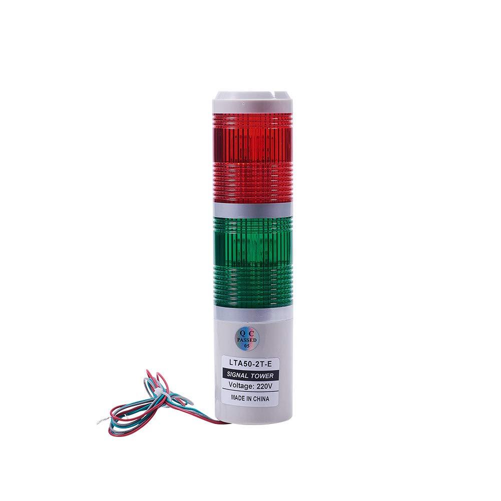 Othmro DC 220V 3W Red Green Signal Lamp Tower Light Indicator Warning Light TB50-2T-E