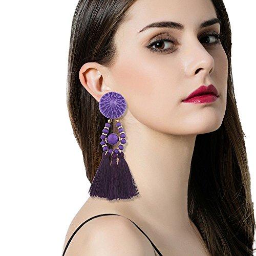 Dangle Floral Bridal Set (Women's Bohemian Earrings, Mosunx Long Tassel Fringe Dangle Earrings (Purple))