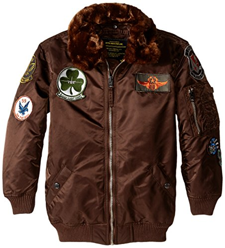 Alpha Industries Boys' Big Maverick Flight Jacket, Cocoa, YS 8
