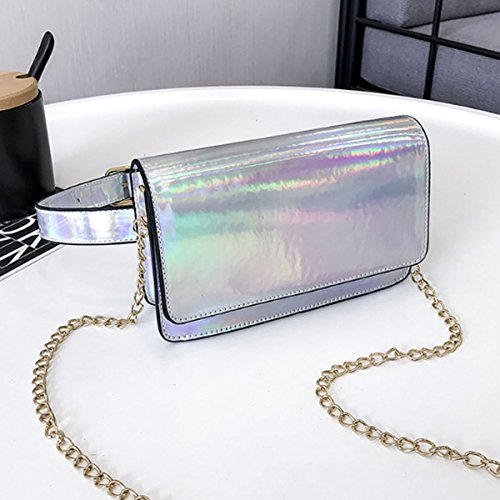 Women's Bag Hologram Fanny Pack AiSi 2 Bum Raves Waist PVC Festivals Purse Silvery dt0qqfnEwS