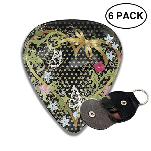 Colby Keats Guitar Picks Plectrums Best Valentines Day Classic Electric Celluloid Acoustic for Bass Mandolin Ukulele 6 Pack 3 Sizes .96mm]()