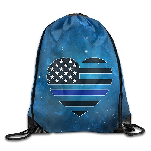 Draw Decals (Thin Blue Line USA Heart Decal Unisex Drawstring Backpack Travel Sports Bag Drawstring Beam Port Backpack.)