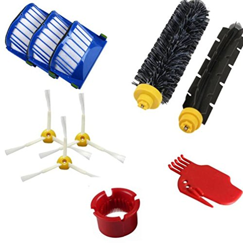 (SUKEQ Accessory Part for Irobot Roomba 600 610 620 650 Series Vacuum Cleaner Replacement Parts Kit Include 3 Filters, 3Bristle Brush, Flexible Beater Brush, Cleaning Tool, Bristle Brush)