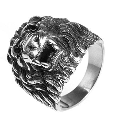 LAMUCH Jewelry Fashion Stainless Steel Animal Lion Head Insert Diamond Rings For - Diamond Head Men Shape