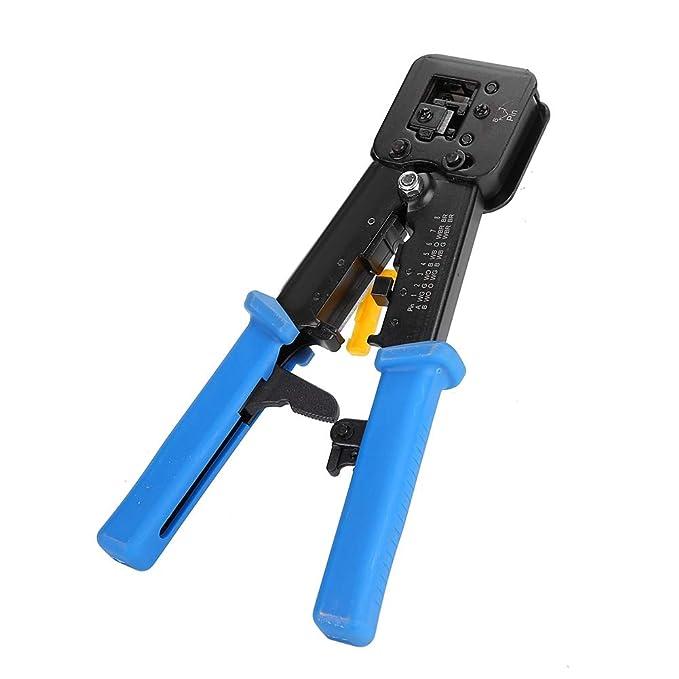 Herramienta de crimpado, RJ45 6P 8P alicates de red multifunción de perforación de cabeza de cristal alicates de crimpado (azul): Amazon.es: Bricolaje y ...