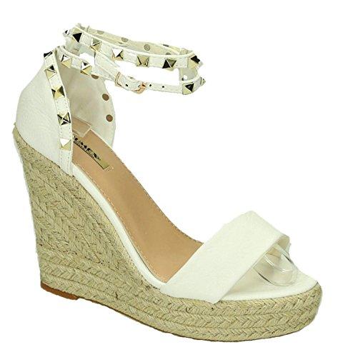 King Of Shoes Bequeme Damen Riemchen Keil Sandaletten Pumps Keilabsatz Wedges High Heels Peep Toes L5 Weiß
