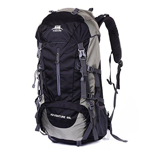 Mooedcoe 55L Internal Frame Hiking Backpack Outdoor Travel Camping Climbing Mountaineering Waterproof Backpacking Packs (Black)