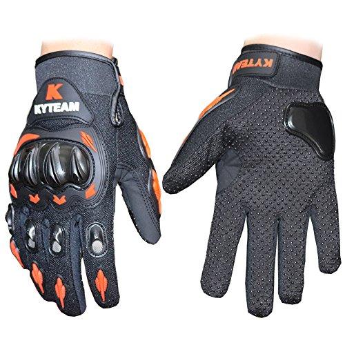 Kyteam Motorcycle Gloves Full Finger MOTO Racing Knight Urban Riders Gloves Bicycle Motorcycle Motorbike Powersports Racing Gloves (Black with orange, M)
