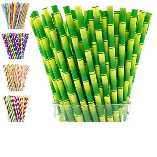 Paper Straws Biodegradable by Party Girl Kim - 200 box | Bamboo Straws | Luau Hawaiian Party Decorations | Moana Party Supplies | Jungle Theme Party Supplies | Tiki Straws for Tiki Cups (Bamboo) ()