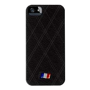 Stylish Black Leather Flag of France Matt abrigo lleno carcasa iPhone 5s de UltraFlags