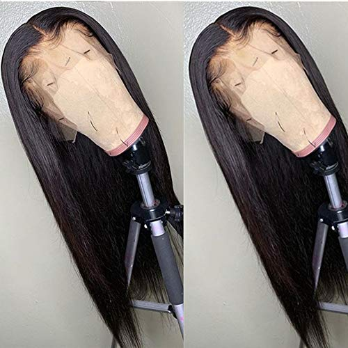 BEEOS 9A 360 Lace Frontal Straight Wig,150% Density Pre Plucked and Bleached Knots with Baby Hair, Brazilian Virgin Human Hair Wigs (20 Inch)