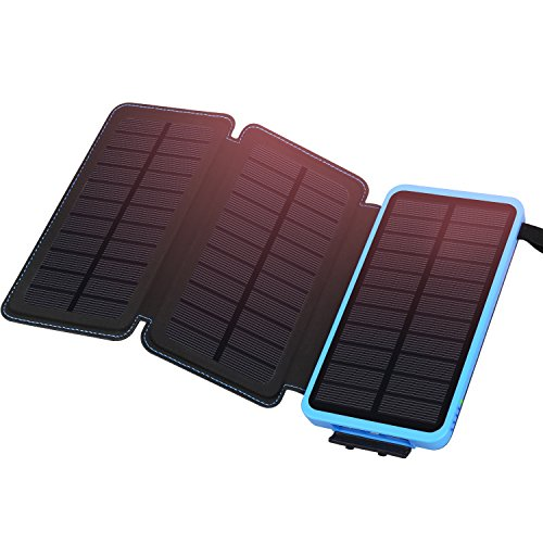 Solar Power Bank 24000mAh, ADDTOP Solar Charger with 3 Solar Waterproof Panels Portable Externer Battery Chargers Compatible with Most Smart Phones, Tablets and More by ADDTOP