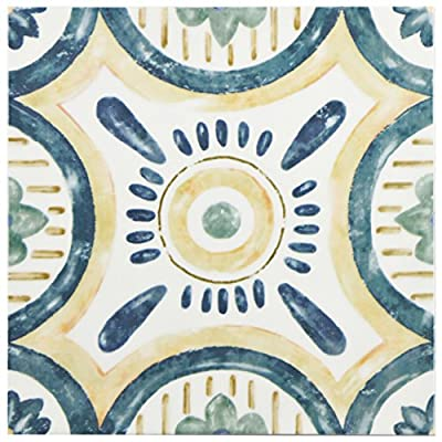 "SomerTile WAEBOUIS Loire Ceramic Wall Tile, 7.875"" x 7.875"", White/Green/Blue/Yellow"