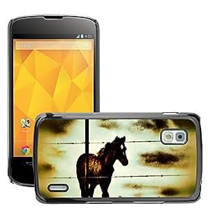 Hot Style Cell Phone PC Hard Case Cover // M00112996 Horse Animal Farm Stallion Domestic // LG Nexus 4 E960
